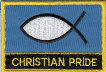 Christian Pride Ichthys Flag Embroidered Rectangular Patch Badge